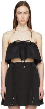 Carven Black Strapless Chintz Ottoman Cropped Top
