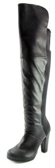 Material Girl Dakota Women Round Toe Synthetic Black Over The Knee Boot.