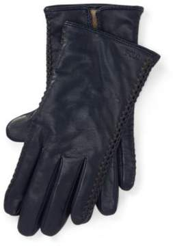 Ralph Lauren Corset-Stitched Leather Gloves Navy L