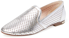 Yosi Samra Women's Perforated Metallic Leather Loafer