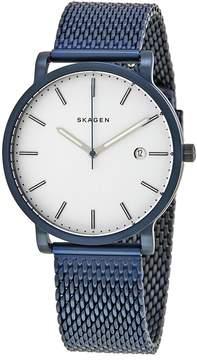 Skagen Hagen White Dial Blue Ion-plated Men's Watch