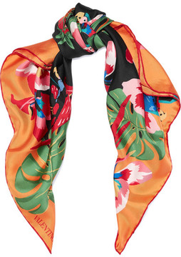 Valentino Printed Silk-twill Scarf - Orange