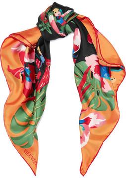 Valentino Printed Silk-twill Scarf - Orange