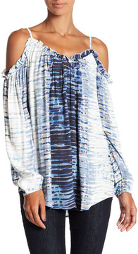Fifteen-Twenty Fifteen Twenty Print Cold Shoulder Ruffle Blouse