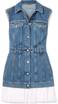 Alexander McQueen Cotton Poplin-trimmed Denim Mini Dress - Blue