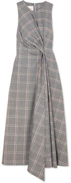 Cédric Charlier Twisted Prince Of Wales Checked Wool-blend Midi Dress - Gray