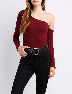 Charlotte Russe Ribbed Asymmetrical One-Shoulder Top
