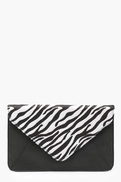boohoo Faux Zebra Pony Print Clutch