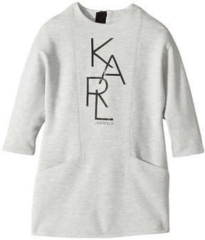 Karl Lagerfeld Long Sleeve Milano Dress with Logo Graphics Girl's Dress