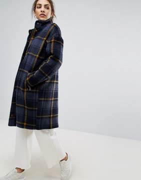 B.young Check High Neck Coat