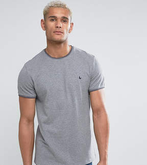 Jack Wills Gunnersbury Slim Fit Pique Tipped T-Shirt In Gray