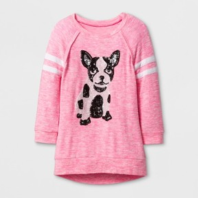 Miss Chievous Girls' 3/4 Sleeve Sequin Puppy Tunic - Pink
