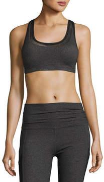 Beyond Yoga Mesh Behavior Strappy-Back Sports Bra, Heather Gray