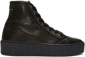 MM6 MAISON MARGIELA Black Sheepskin High-Top Sneakers
