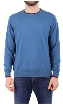 Sun 68 Men's Light Blue Cotton Sweater.