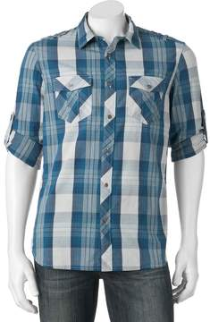 Rock & Republic Big & Tall Classic-Fit Plaid Stretch Roll-Tab Button-Down Shirt