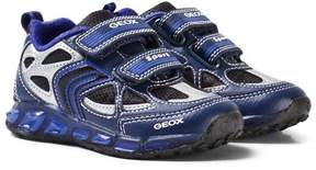 Geox Navy and Royal Blue Junior Shuttle Light Up Velcro Trainers