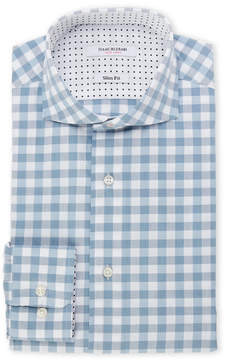 Isaac Mizrahi Blue & Grey Gingham Slim Fit Dress Shirt