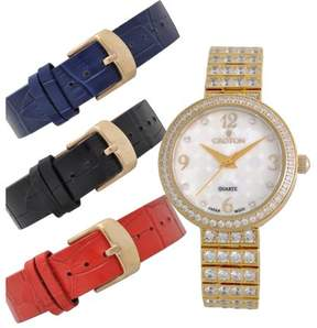Croton Ladies Goldtone CZ Watch Set with Interchangeable Leather straps