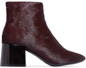 MM6 MAISON MARGIELA Calf Hair Ankle Boots - Burgundy