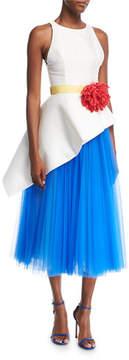 Carolina Herrera Sleeveless Mikado & Tulle Asymmetrical Midi Dress with Flower Belt