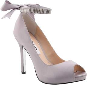 Nina Karen Satin Jeweled Ankle Strap Bow Back Peep-Toe Pumps