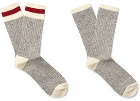 Beams Two-Pack Ribbed Cotton-Blend Socks
