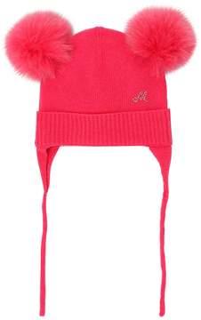 MonnaLisa Wool Knit Hat W/ Fox Fur Pompoms