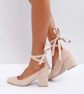 London Rebel Wide Fit Tie Ankle Kitten heel Shoes