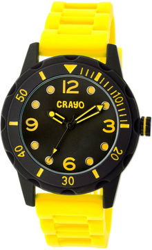 Crayo Unisex Splash Yellow Strap Watch Cracr2205