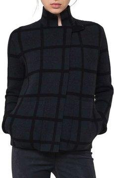 Akris Grid-Check Reversible Cashmere Cardigan