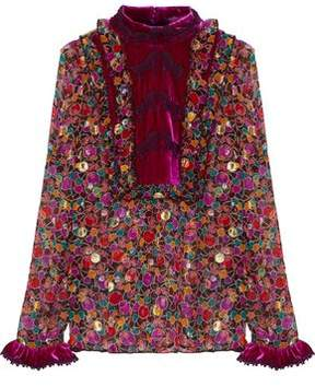 Anna Sui Velvet-Paneled Fil Coupé Printed Silk-Blend Georgette Blouse