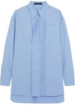 Cédric Charlier Oversized Pintucked Cotton-poplin Shirt - Light blue