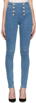 Balmain Blue Buttoned Jeans