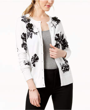 Charter Club Floral-Print Applique-Detail Cardigan, Created for Macy's