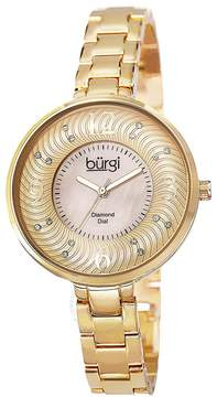 Burgi Gold-Tone Brass Pink Mother of Pearl Diamond Dial Ladies Watch