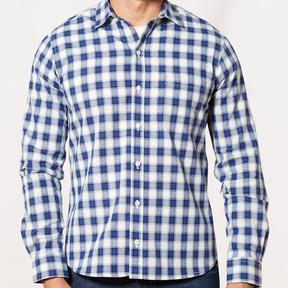 Blade + Blue Navy, Royal Blue & White Plaid Shirt - Max