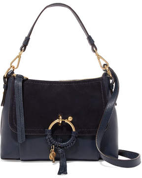 See by Chloe Joan Small Suede-paneled Textured-leather Shoulder Bag - Midnight blue