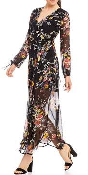 Band of Gypsies Abstract Floral Bouquet Maxi Wrap Dress