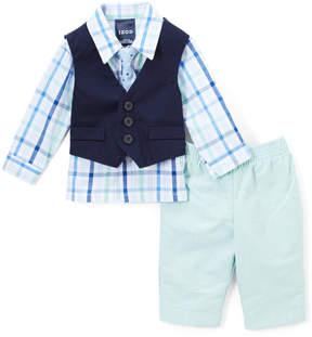 Izod Green Plaid Button-Up & Vest Set - Toddler