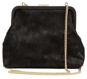 Clare Vivier Flore Genuine Calf Hair Frame Clutch - Black
