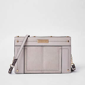 River Island Light grey small metal boxy cross body bag