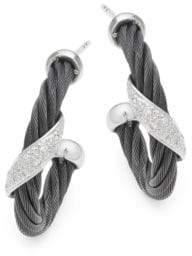 Alor 18K White Gold & Sterling Silver Diamond Studded Earrings