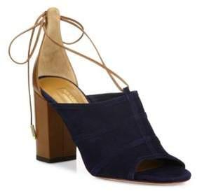 Aquazzura Very Eugenie Chunky Heel Leather Sandals
