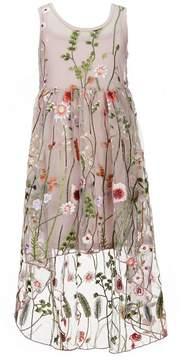 Bonnie Jean Big Girls 7-16 Floral Embroidered Mesh A-Line Dress