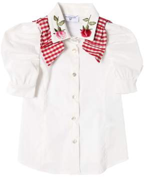MonnaLisa Cotton Poplin Shirt With Rose Patches