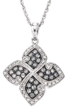 Armani Exchange Jewelry Diamond Floral Necklace in Sterling Silver (0.50 cts, H-I I2 and Grey Diamonds)
