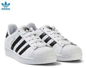 adidas White and Black Junior Superstar Trainers