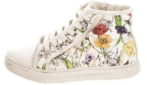Gucci Girls' Floral Print Canvas Sneakers