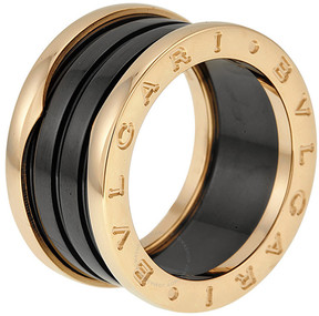 Bvlgari B.Zero1 Four Band 18 kt Rose Gold and Black Ceramic Ladies Ring - 7.25